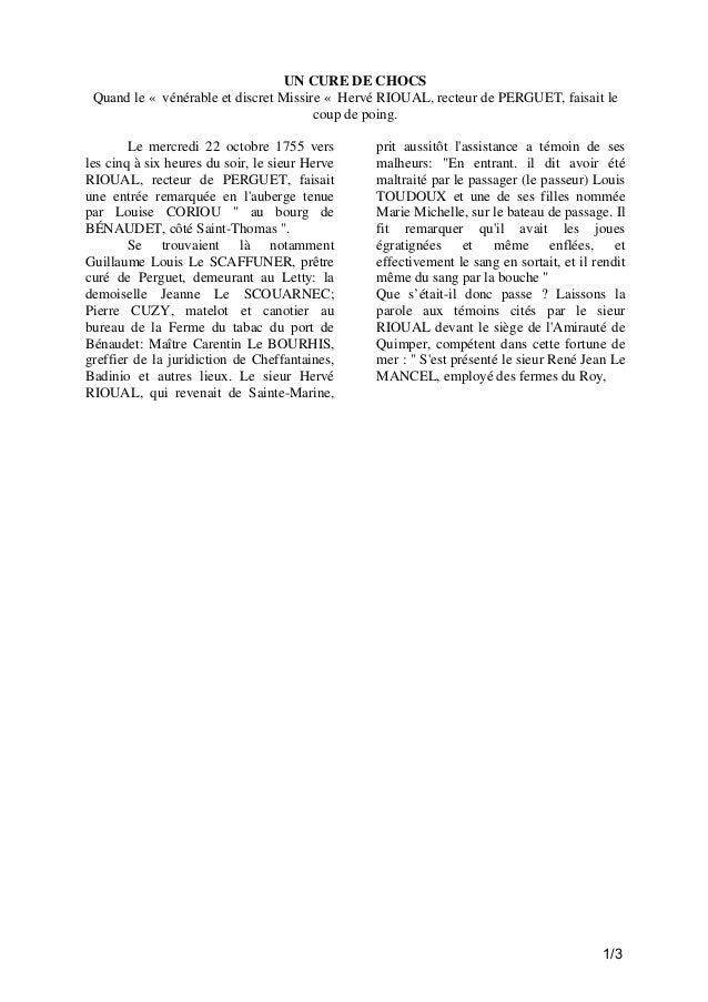 UN CURE DE CHOCS Quand le « vénérable et discret Missire « Hervé RIOUAL, recteur de PERGUET, faisait le coup de poing. Le ...