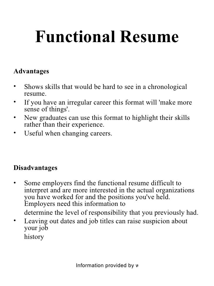 Functional Resume ...  When To Use A Functional Resume