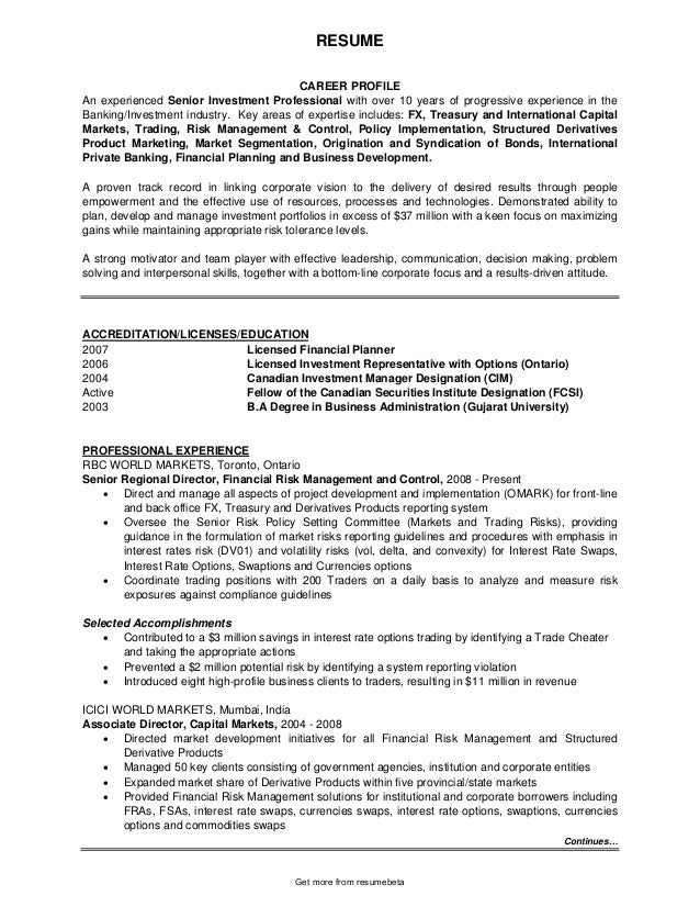 Nice RESUME CAREER PROFILE An Experienced Senior Investment Professional With  Over 10 Years Of Progressive Experience In ... And Investment Analyst Resume