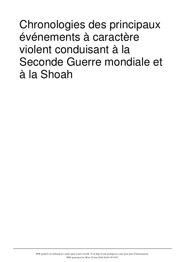 Chronologie des principaux événements à caractère violent  livre -wiki