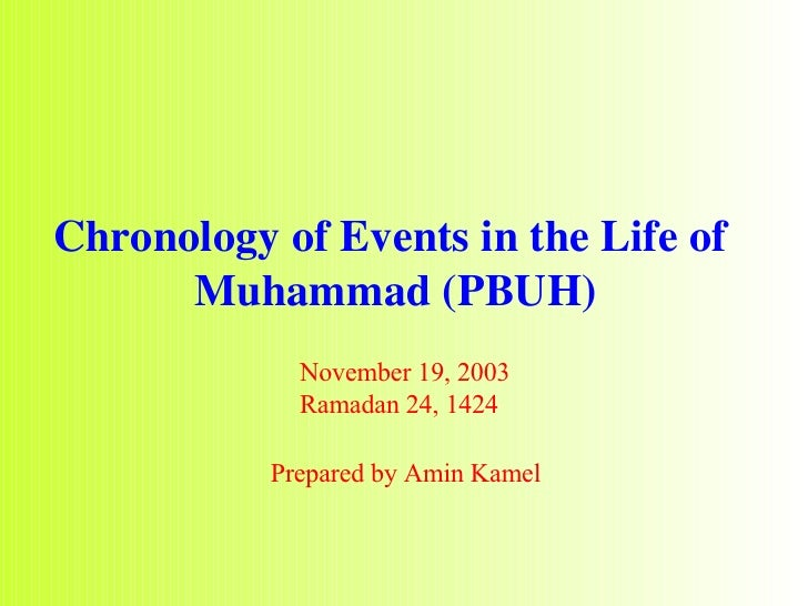 Chronology of Events in the Life of  Muhammad (PBUH) November 19, 2003 Ramadan 24, 1424 Prepared by Amin Kamel