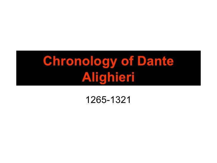 Chronology of Dante     Alighieri      1265-1321