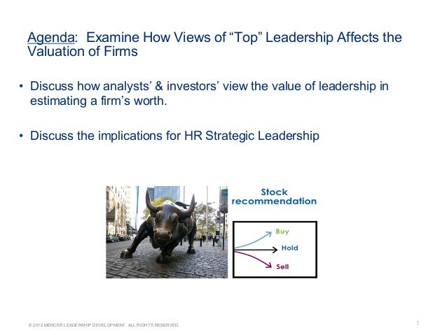 """1© 2012 MERCER LEADERSHIP DEVELOPMENT. ALL RIGHTS RESERVED.Agenda: Examine How Views of """"Top"""" Leadership Affects theValuat..."""