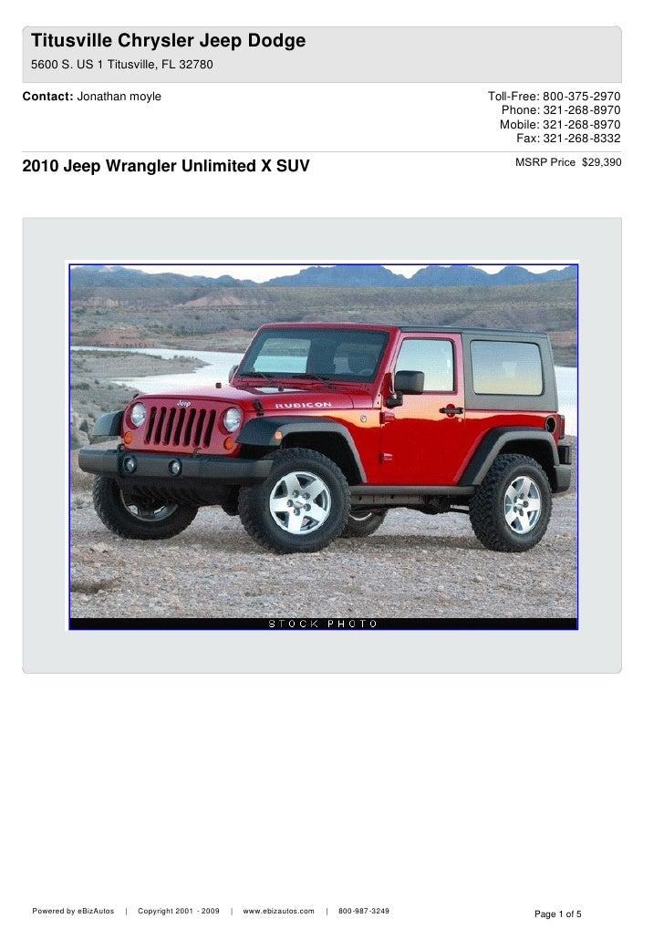 Titusville Chrysler Jeep Dodge 5600 S. US 1 Titusville, FL 32780 Contact:  Jonathan ...