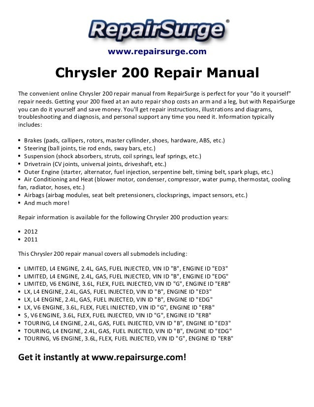 chrysler 200 repair manual 2011 2012 2011 chrysler 200 touring www repairsurge com chrysler 200 repair manual the convenient online chrysler 200 repair manual