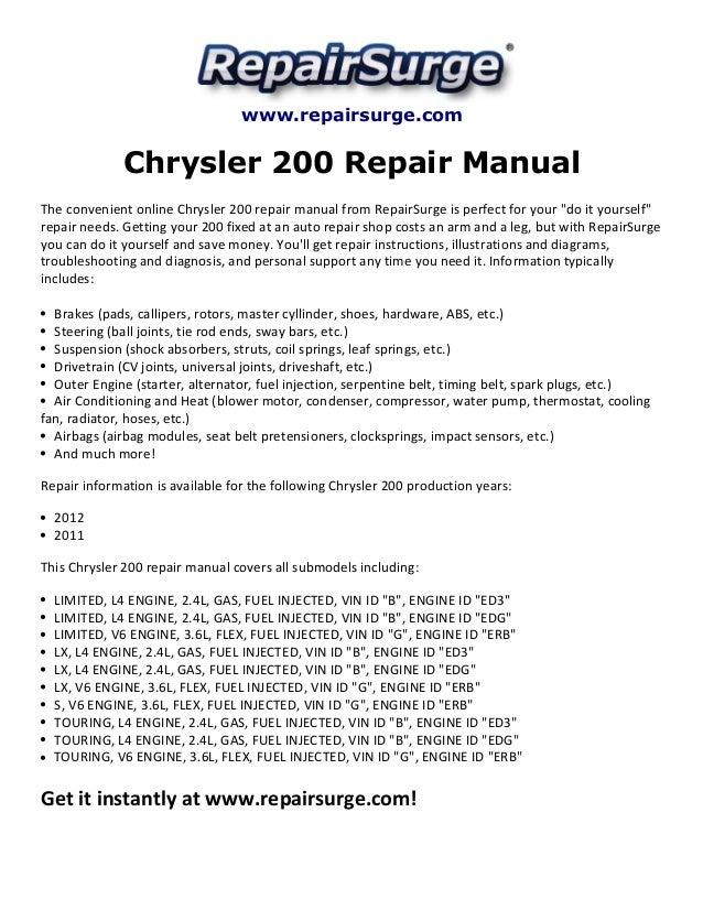 chrysler 200 repair manual 20112012 1 638?cb=1416048520 chrysler 200 repair manual 2011 2012 2013 chrysler 200 fuse box diagram at fashall.co