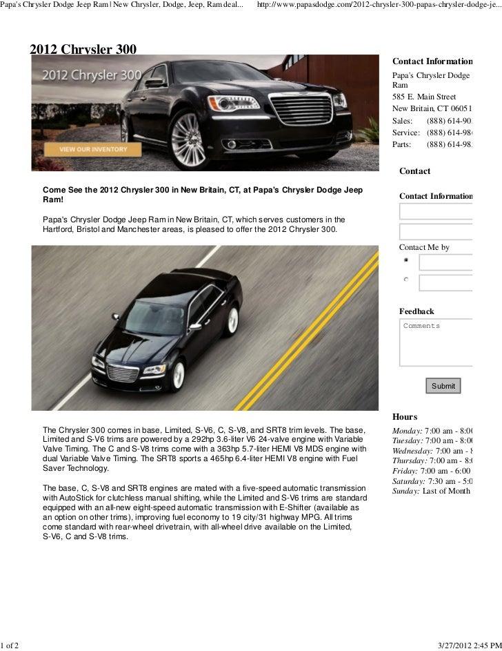 Papas Chrysler Dodge Jeep Ram | New Chrysler, Dodge, Jeep, Ram deal...   http://www.papasdodge.com/2012-chrysler-300-papas...