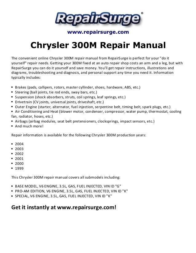 chrysler 300m repair manual 1999 2004 rh slideshare net 1999 chrysler sebring convertible service manual 1999 chrysler sebring convertible jxi owners manual