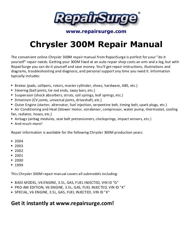 chrysler 300m chrysler concorde 2000 2004 repair manual