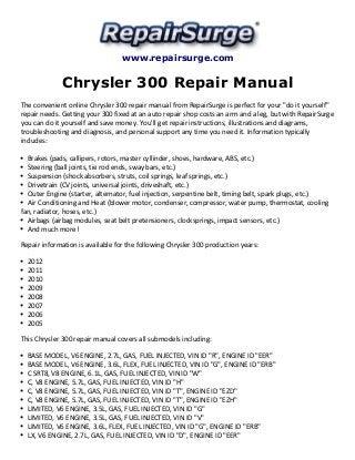 chrysler 300 repair manual 2005-2012  slideshare