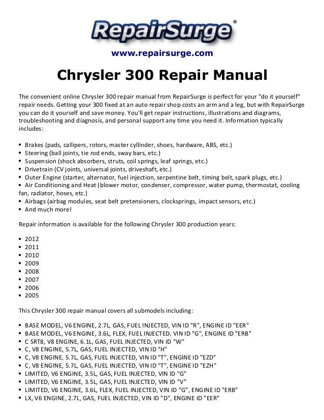 chrysler 300 repair manual 2005 2012 rh slideshare net chrysler 300 repair manual free chrysler 300 repair manual free