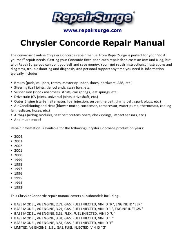 chrysler concorde repair manual 1993 2004 rh slideshare net 1998 Chrysler Concorde LXI 2001 Chrysler Concorde LXi