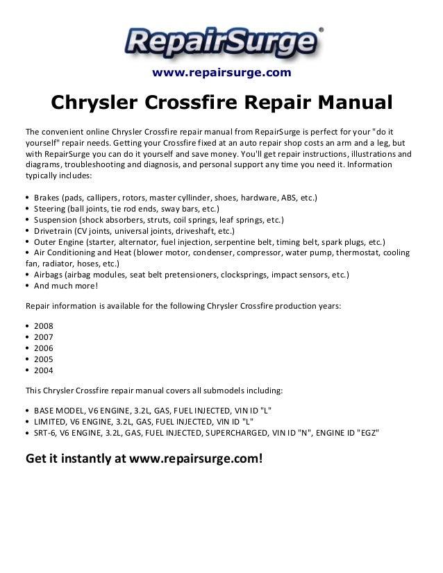 chrysler crossfire repair manual 2004 2008 rh slideshare net 2006 chrysler crossfire repair manual 2007 chrysler crossfire repair manual