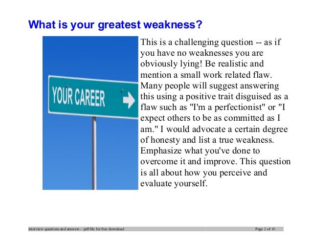 biggest weakness interview question