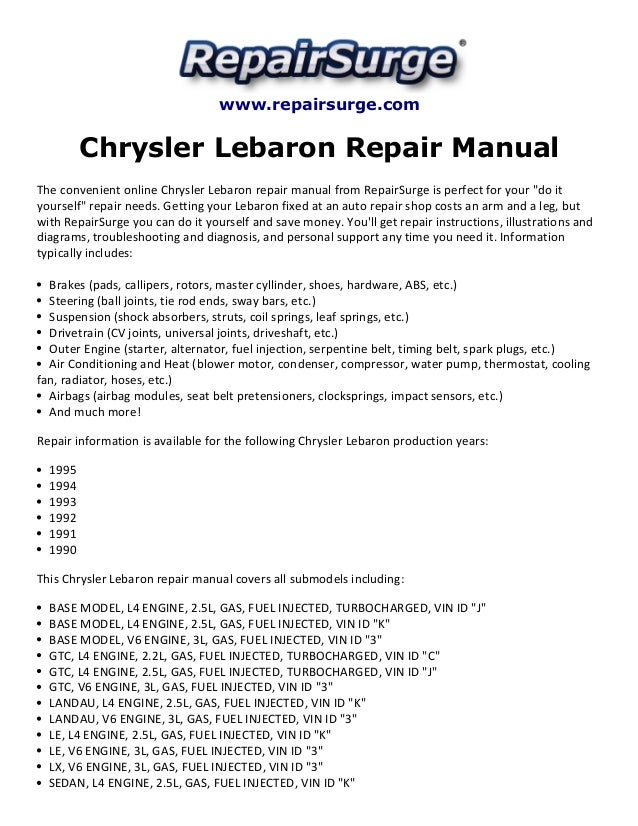 chrysler lebaron repair manual 1990 1995 rh slideshare net 1987 Chrysler LeBaron 1993 Chrysler LeBaron