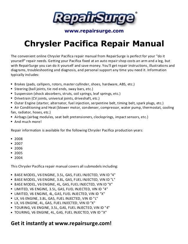 chrysler pacifica repair manual 2004 2008 repairsurge com chrysler pacifica repair manual the convenient online chrysler pacifica repair manual