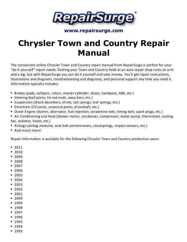 chrysler town and country repair manual 1990 2011 rh slideshare net Ford Repair Guide chrysler 200 repair guide