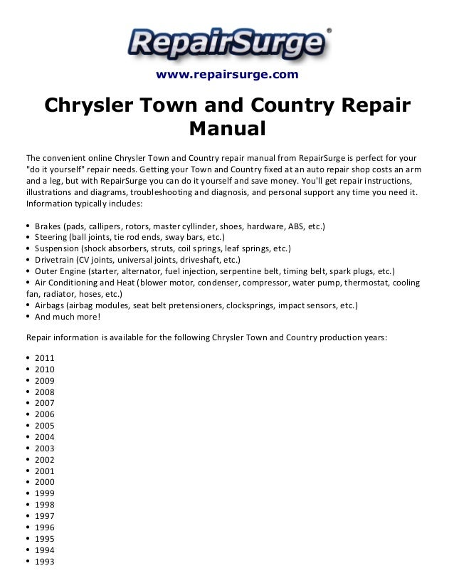 chrysler town and country repair manual 1990 2011 repairsurge com chrysler town and country repair manual the convenient online chrysler town
