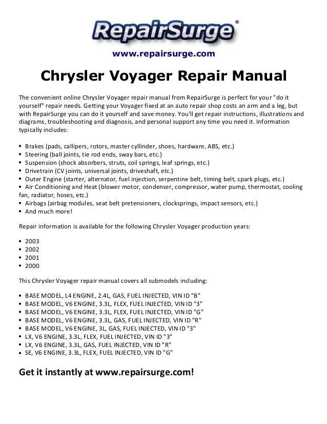 chrysler voyager repair manual 2000 2003 rh slideshare net Owners Manual 2000 Chrysler Voyager Owners Manual 2000 Chrysler Voyager
