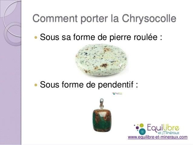 Comment porter la Chrysocolle   Sous sa forme de pierre roulée :    Sous forme de pendentif :  www.equilibre-et-mineraux...
