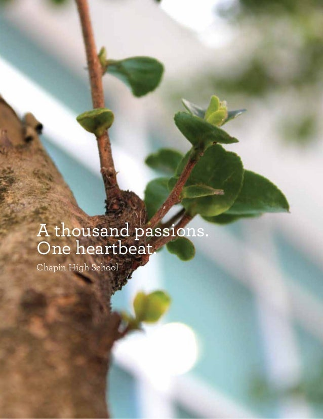 A thousand passions. One heartbeat. Chapin High School