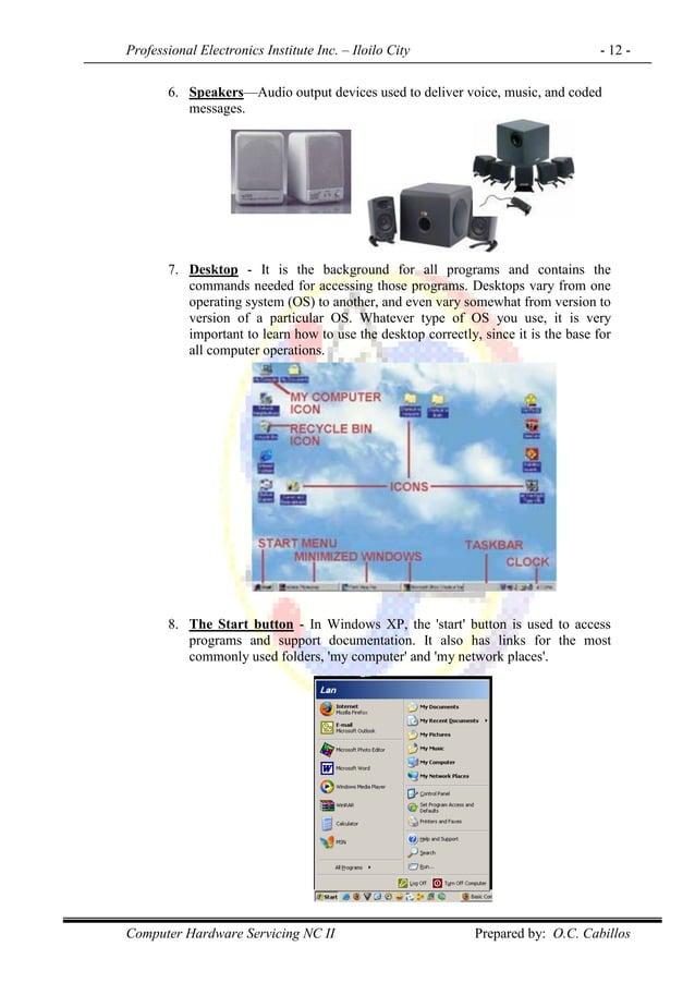 Professional Electronics Institute Inc. – Iloilo City - 12 - Computer Hardware Servicing NC II Prepared by: O.C. Cabillos ...