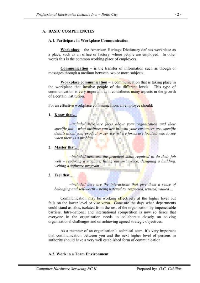 Professional Electronics Institute Inc. – Iloilo City - 2 - Computer Hardware Servicing NC II Prepared by: O.C. Cabillos A...