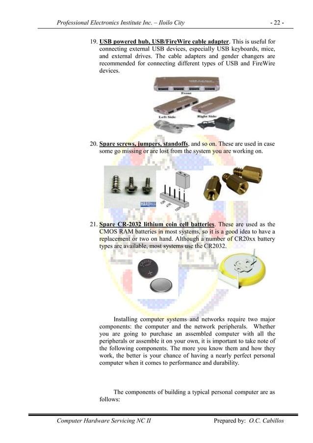 Professional Electronics Institute Inc. – Iloilo City - 22 - Computer Hardware Servicing NC II Prepared by: O.C. Cabillos ...