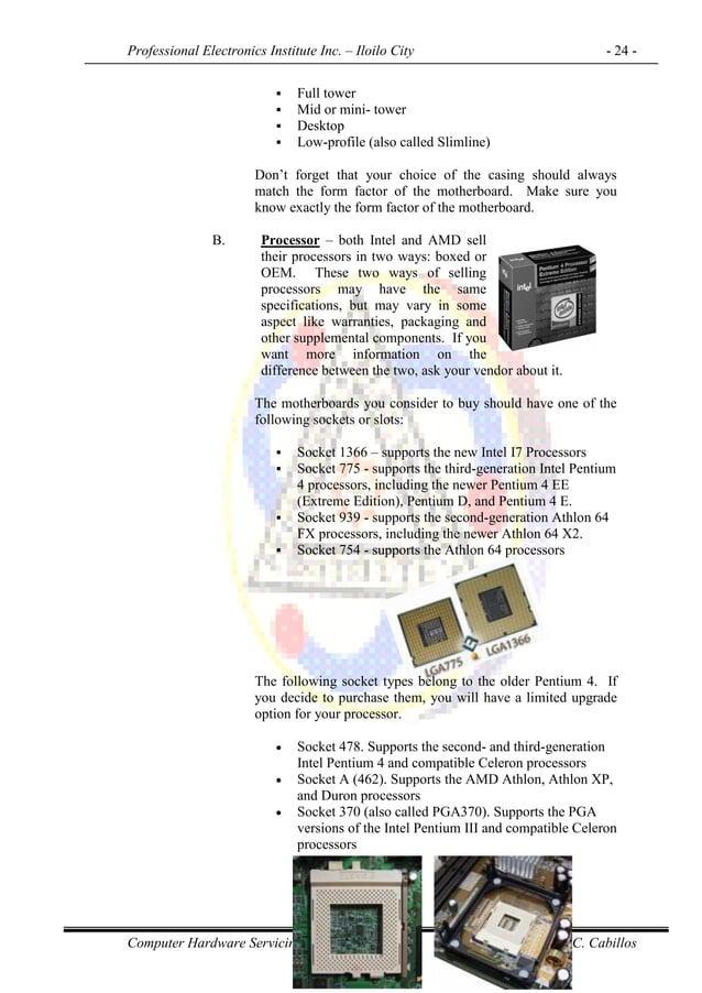 Professional Electronics Institute Inc. – Iloilo City - 24 - Computer Hardware Servicing NC II Prepared by: O.C. Cabillos ...