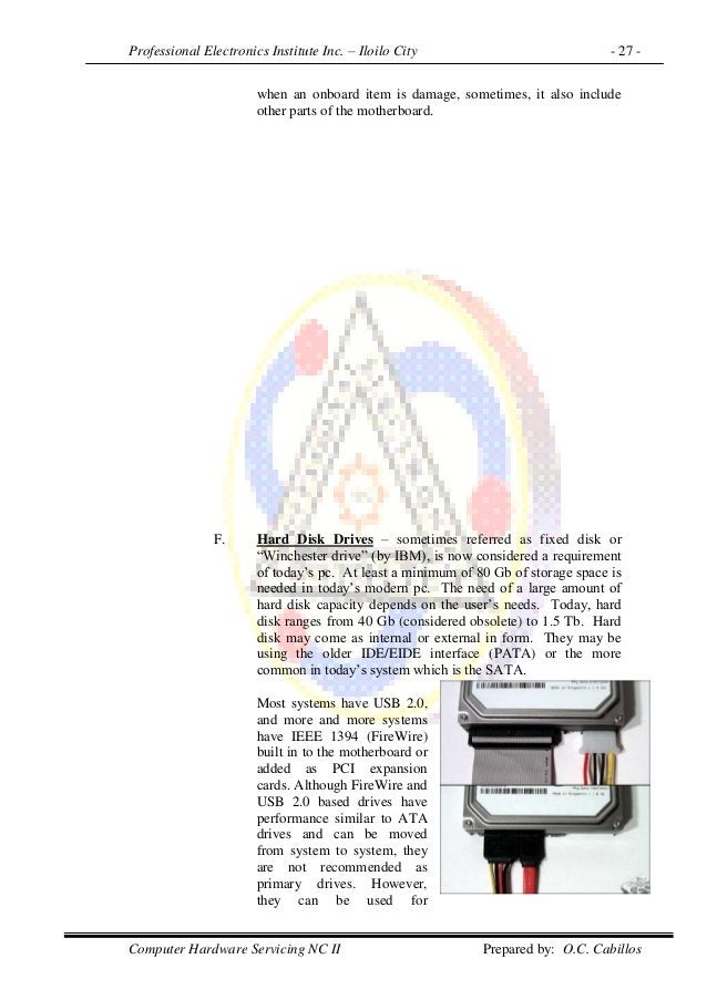 Professional Electronics Institute Inc. – Iloilo City - 27 - Computer Hardware Servicing NC II Prepared by: O.C. Cabillos ...