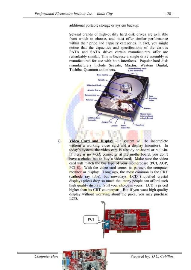 Professional Electronics Institute Inc. – Iloilo City - 28 - Computer Hardware Servicing NC II Prepared by: O.C. Cabillos ...