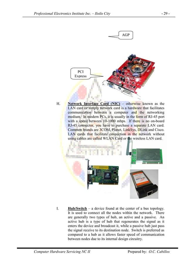 Professional Electronics Institute Inc. – Iloilo City - 29 - Computer Hardware Servicing NC II Prepared by: O.C. Cabillos ...