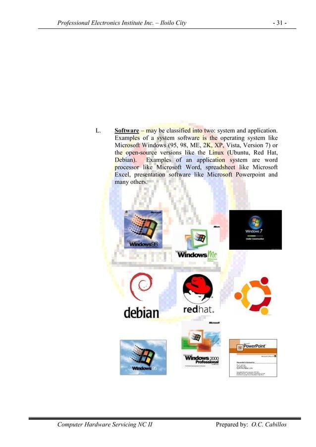 Professional Electronics Institute Inc. – Iloilo City - 31 - Computer Hardware Servicing NC II Prepared by: O.C. Cabillos ...