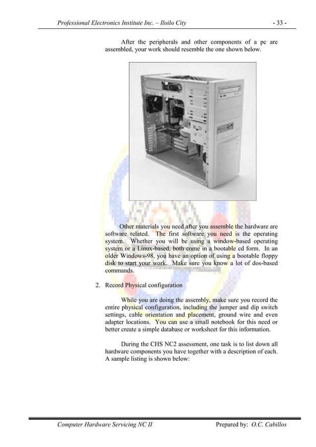 Professional Electronics Institute Inc. – Iloilo City - 33 - Computer Hardware Servicing NC II Prepared by: O.C. Cabillos ...