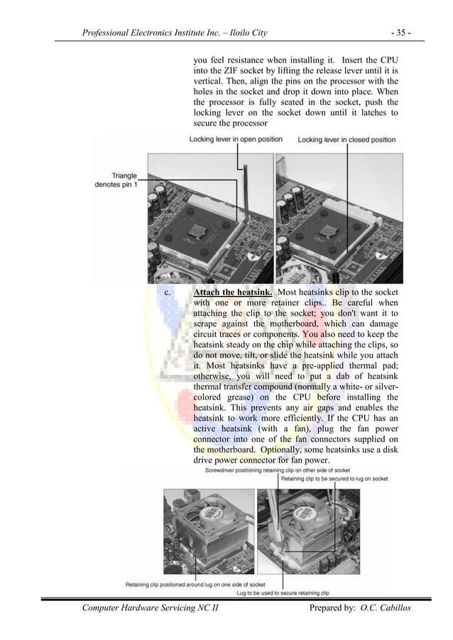 Professional Electronics Institute Inc. – Iloilo City - 35 - Computer Hardware Servicing NC II Prepared by: O.C. Cabillos ...