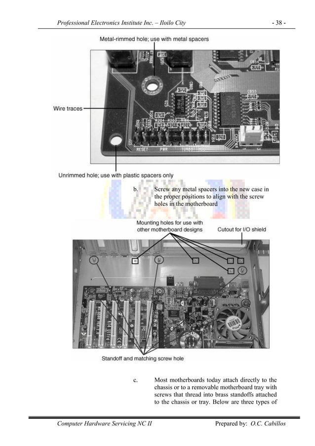 Professional Electronics Institute Inc. – Iloilo City - 38 - Computer Hardware Servicing NC II Prepared by: O.C. Cabillos ...