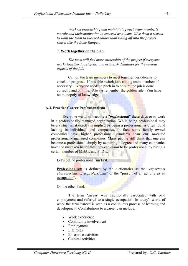 Professional Electronics Institute Inc. – Iloilo City - 4 - Computer Hardware Servicing NC II Prepared by: O.C. Cabillos W...