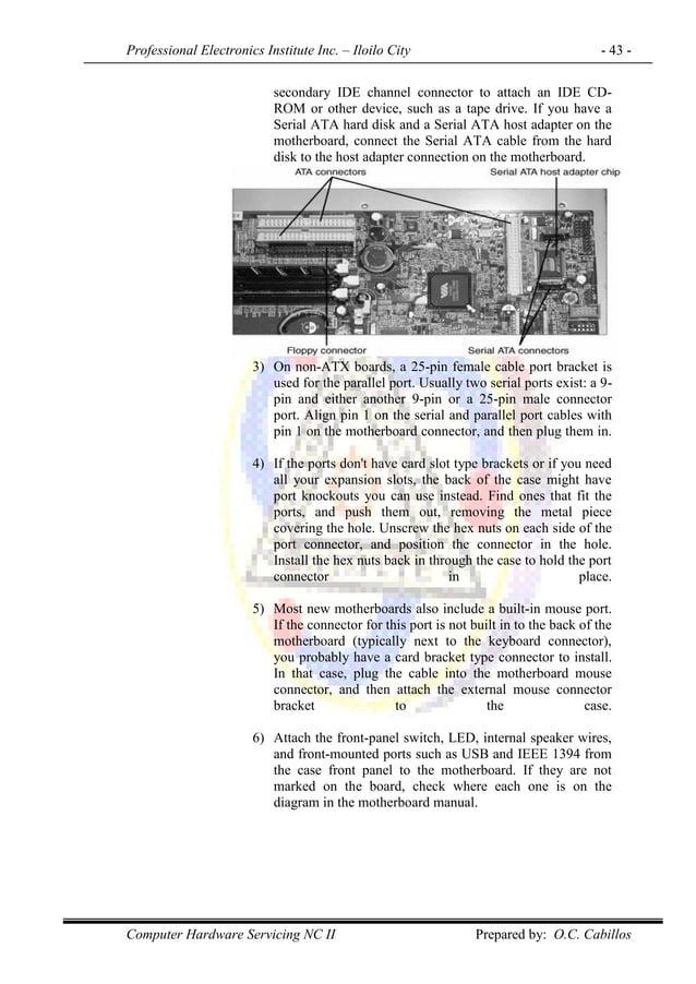 Professional Electronics Institute Inc. – Iloilo City - 43 - Computer Hardware Servicing NC II Prepared by: O.C. Cabillos ...