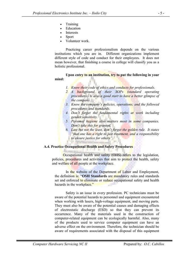 Professional Electronics Institute Inc. – Iloilo City - 5 - Computer Hardware Servicing NC II Prepared by: O.C. Cabillos ...