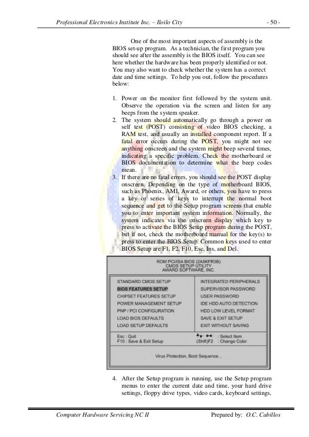 Professional Electronics Institute Inc. – Iloilo City - 50 - Computer Hardware Servicing NC II Prepared by: O.C. Cabillos ...