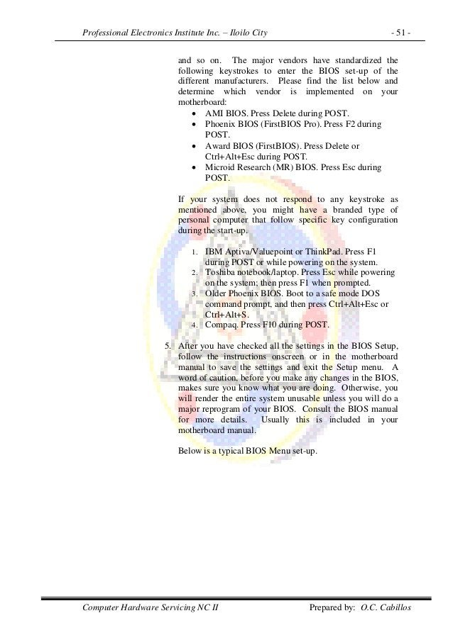 Professional Electronics Institute Inc. – Iloilo City - 51 - Computer Hardware Servicing NC II Prepared by: O.C. Cabillos ...