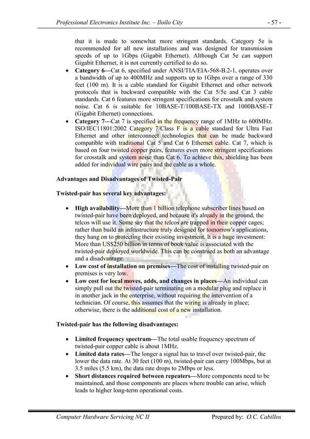 Professional Electronics Institute Inc. – Iloilo City - 57 - Computer Hardware Servicing NC II Prepared by: O.C. Cabillos ...
