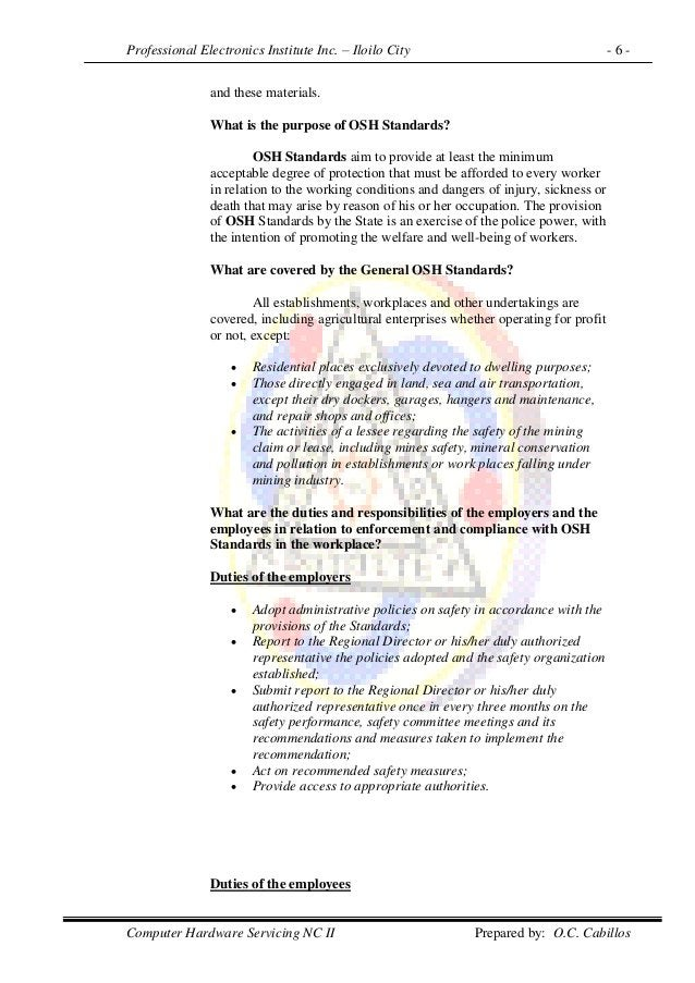 Professional Electronics Institute Inc. – Iloilo City - 6 - Computer Hardware Servicing NC II Prepared by: O.C. Cabillos a...
