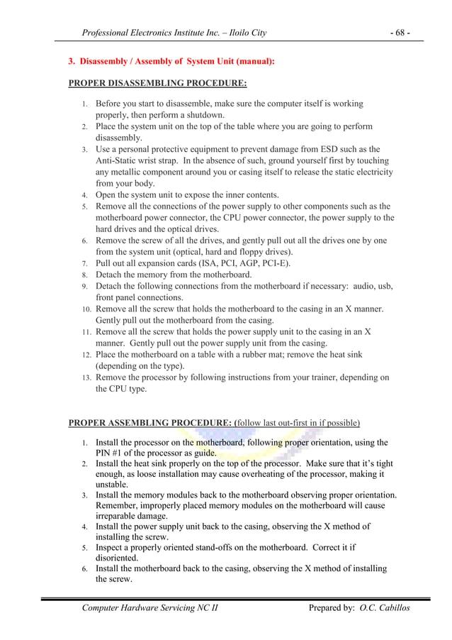 Professional Electronics Institute Inc. – Iloilo City - 68 - Computer Hardware Servicing NC II Prepared by: O.C. Cabillos ...
