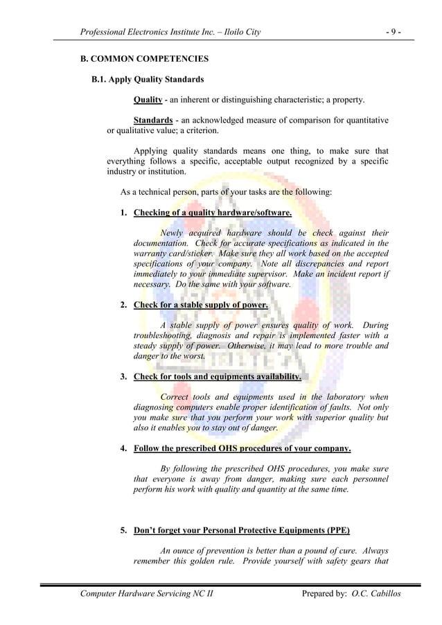 Professional Electronics Institute Inc. – Iloilo City - 9 - Computer Hardware Servicing NC II Prepared by: O.C. Cabillos B...