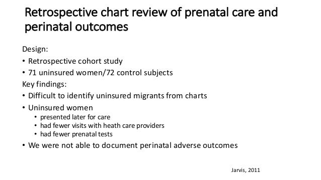 Retrospective chartreview ofprenatalcare and perinataloutcomes Design: • Retrospective cohort study • 71uninsured wo...