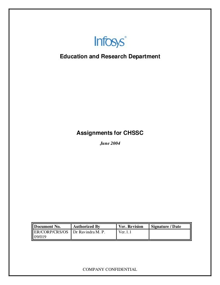 Education and Research Department                       Assignments for CHSSC                                June 2004    ...