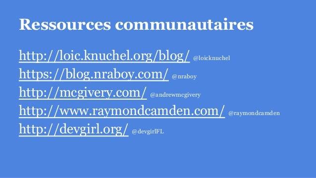 Ressources autres https://github.com/loicknuchel/ionic-starter http://ionicmaterial.com/ https://material.angularjs.org/
