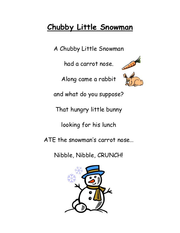 It is a picture of Chubby Little Snowman Poem Printable within grade 3