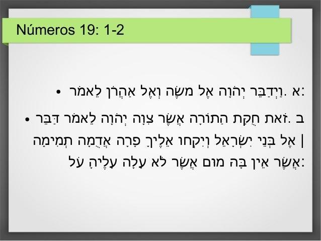 Números 19: 1-2 ● .מרֹ לאֵ רןֹהֲ אַ אלֶ וְ שהֶׁ מ אלֶ והָהֹ יְ ברֵּ דַ יְוַ :א ● .בר...